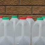 回收牛奶瓶铺马路
